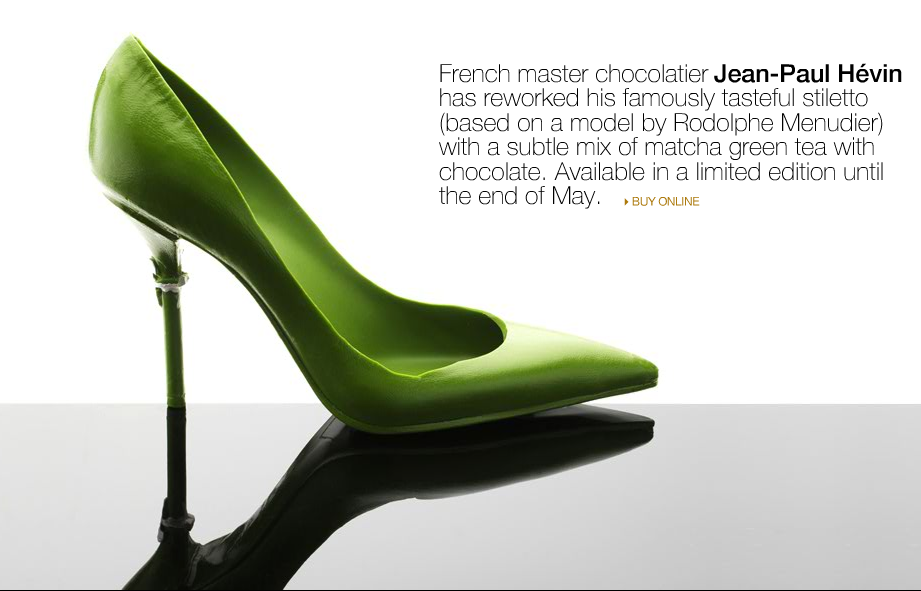 Jean-Paul Hévin's chocolate Green Stiletto. May, 2011.   Photo from Assouline.